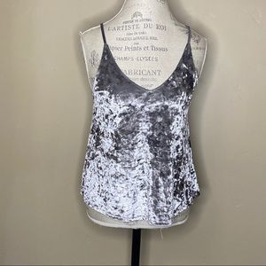 American Eagle Small Silver Crushed Velvet Tank